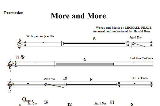 More And More - Percussion Sheet Music