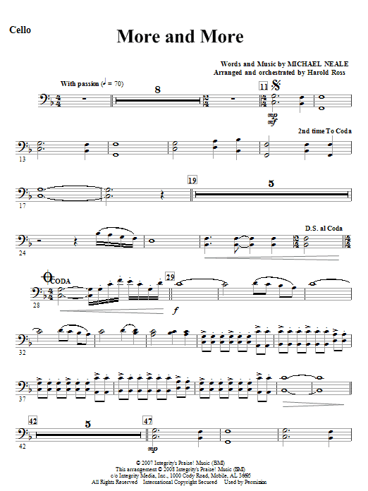 More And More - Cello Sheet Music