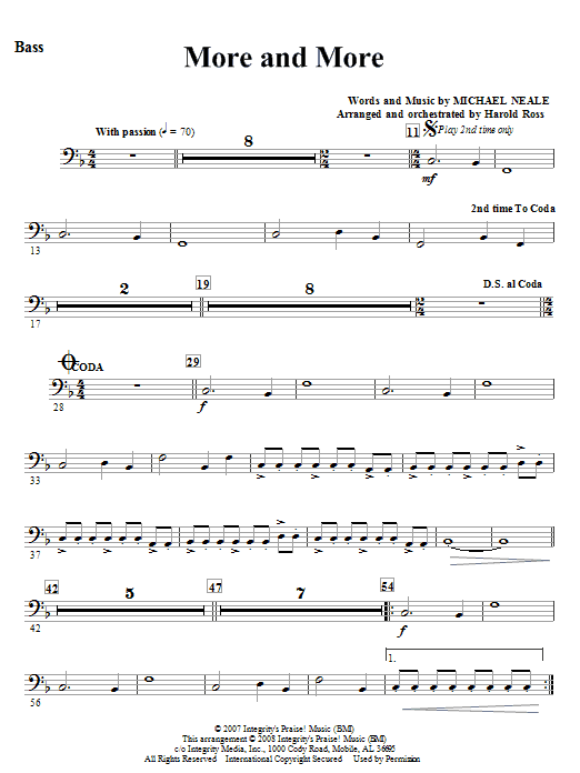 More And More - Bass Sheet Music