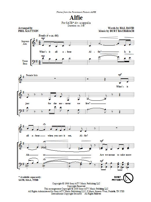 Alfie (arr. Phil Mattson) (SATB Choir)