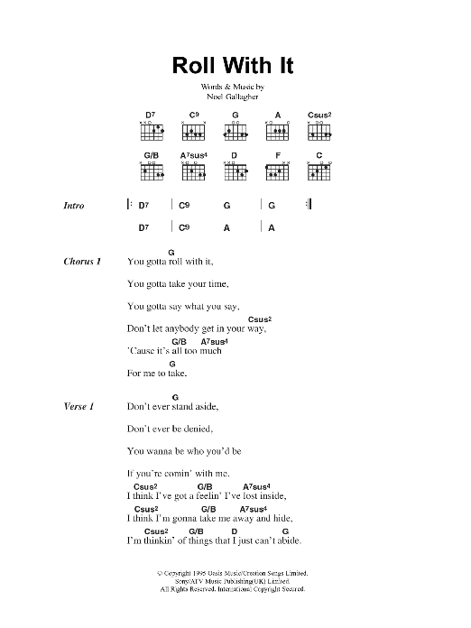 Roll With It by Oasis - Guitar Chords/Lyrics - Guitar Instructor