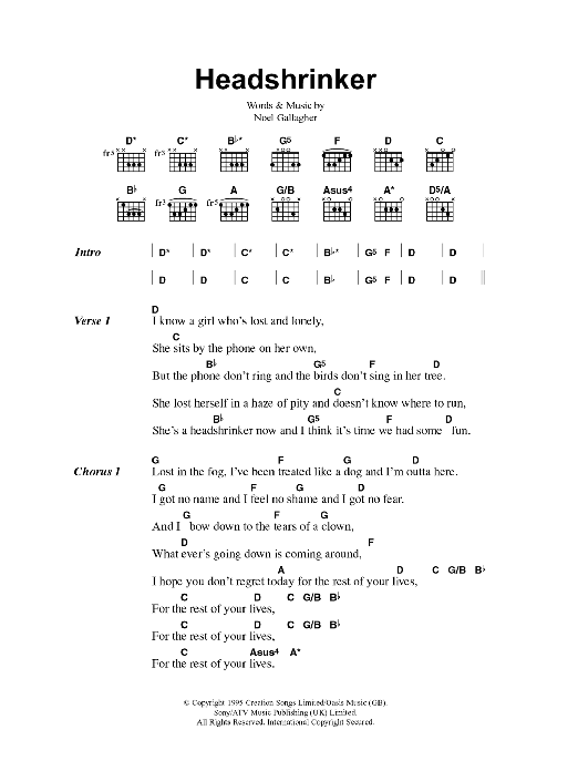 Headshrinker by Oasis - Guitar Chords/Lyrics - Guitar Instructor