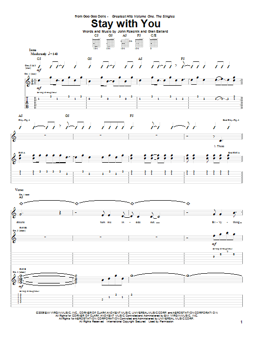 Tablature guitare Stay With You de Goo Goo Dolls - Tablature Guitare