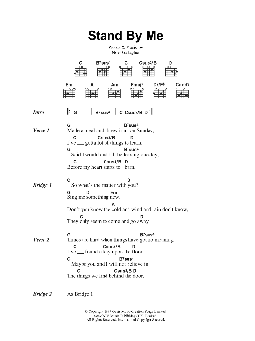 Stand By Me by Oasis - Guitar Chords/Lyrics - Guitar Instructor
