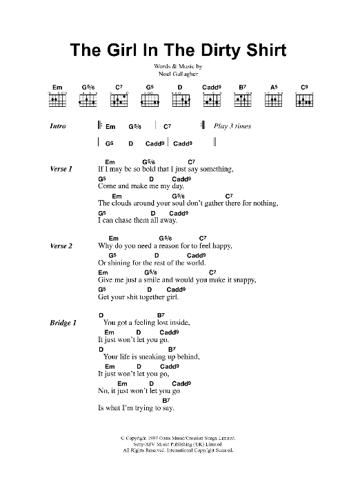The Girl In The Dirty Shirt by Oasis - Guitar Chords/Lyrics - Guitar ...