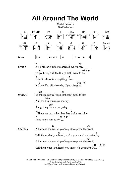 All Around The World Sheet Music Oasis Lyrics Chords