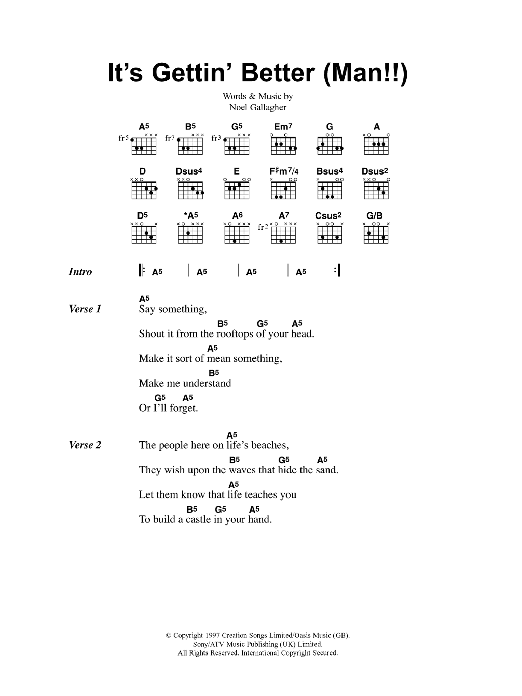 Its Gettin Better Man Sheet Music Oasis Lyrics Chords