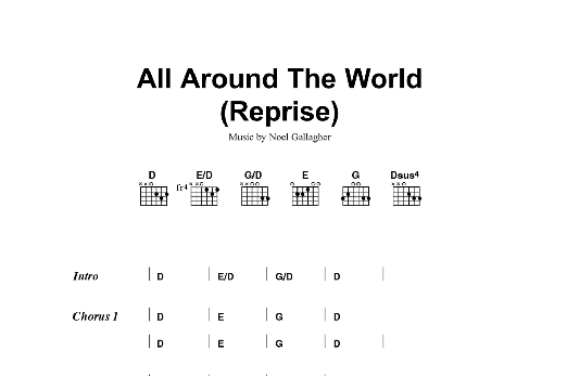 All Around The World Reprise Sheet Music Oasis Lyrics Chords