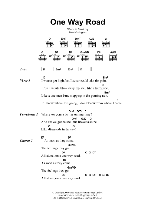 One Way Roadoasis Guitar Chords Lyrics