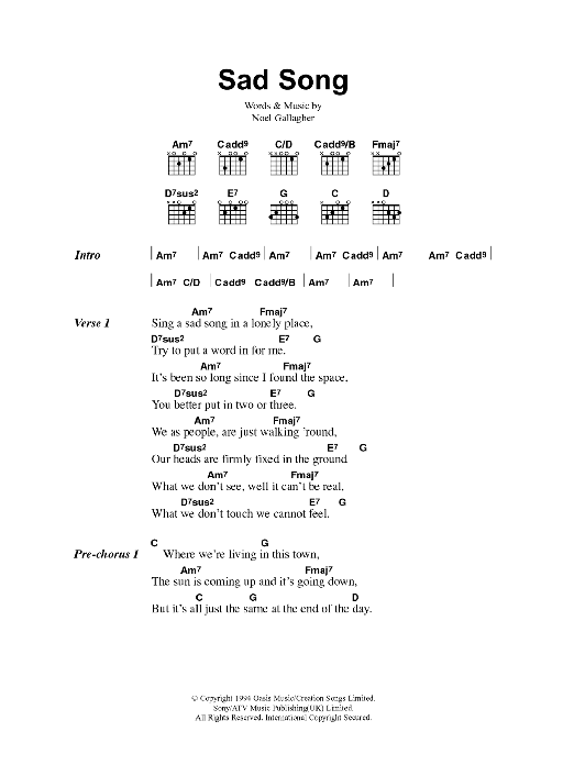 Sad Song Sheet Music