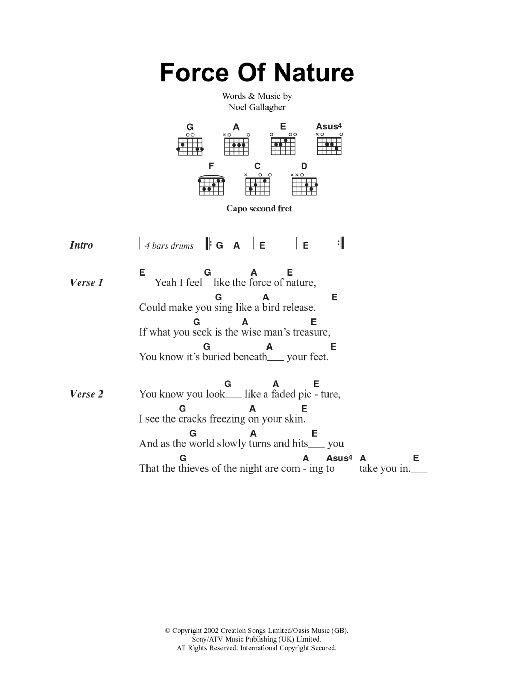 Force Of Nature Sheet Music