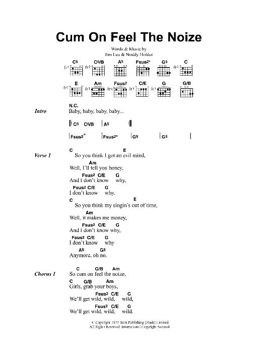 Cum On Feel The Noize Sheet Music Oasis Lyrics Chords
