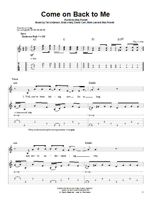 Come On Back To Me (Guitar Tab (Single Guitar))