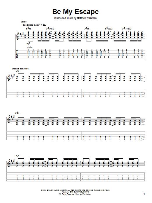 Be My Escape (Guitar Tab (Single Guitar))