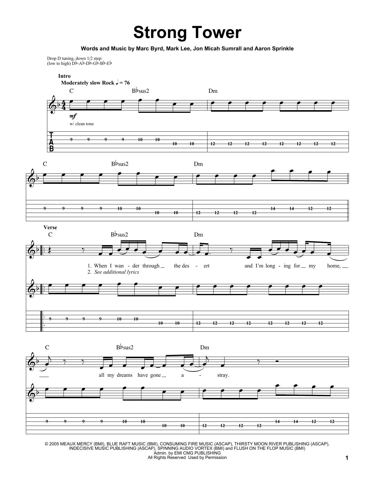 Strong Tower (Guitar Tab (Single Guitar))