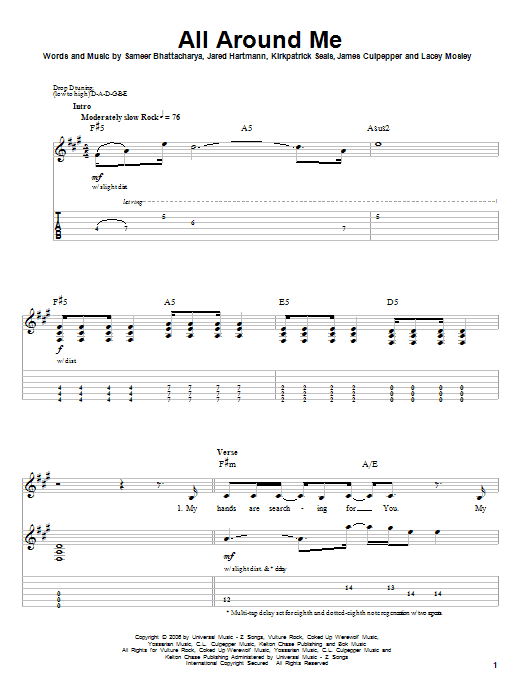 All Around Me (Guitar Tab (Single Guitar))