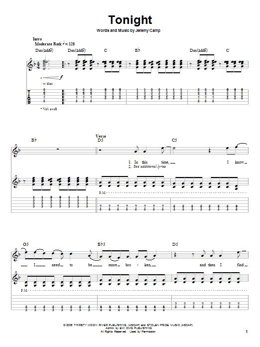 Tonight (Guitar Tab (Single Guitar))
