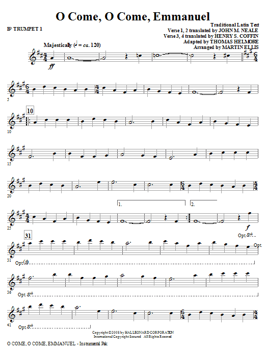 O Come, O Come, Emmanuel - Bb Trumpet 1 | Sheet Music Direct