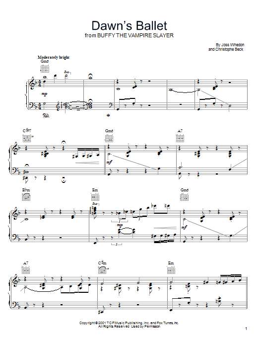Dawn's Ballet (from Buffy The Vampire Slayer) Sheet Music