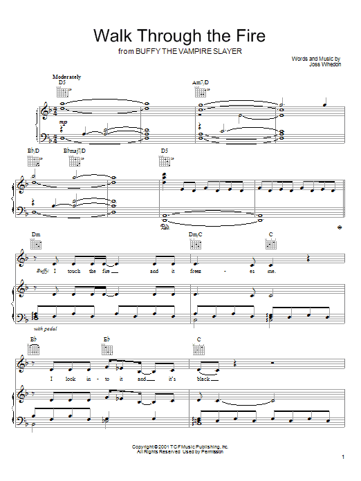 Walk Through The Fire (from Buffy The Vampire Slayer) Sheet Music