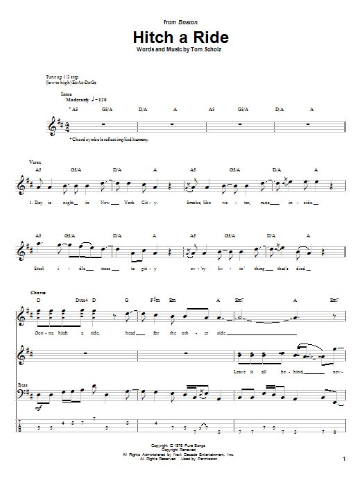 Tablature guitare Hitch A Ride de Boston - Tablature Basse