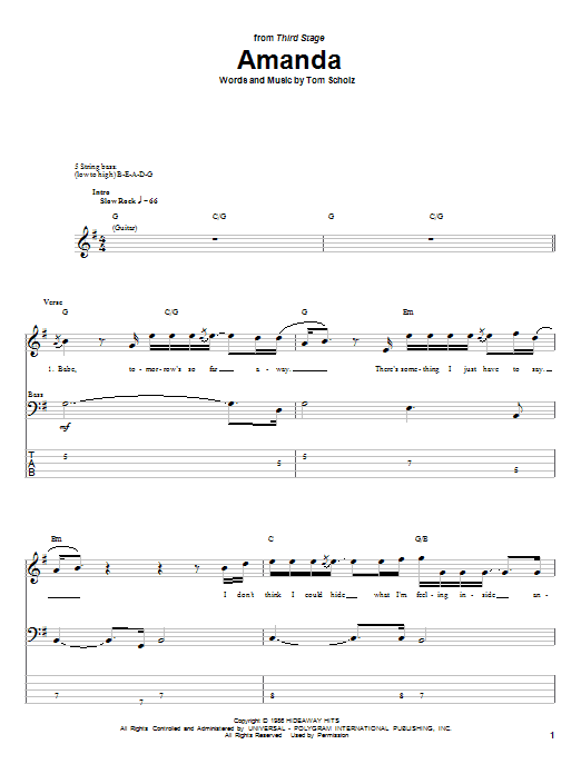 Amanda (Bass Guitar Tab)