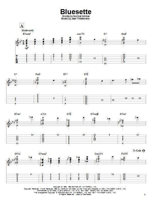 Tablature guitare Bluesette de Norman Gimbel - Tablature Guitare