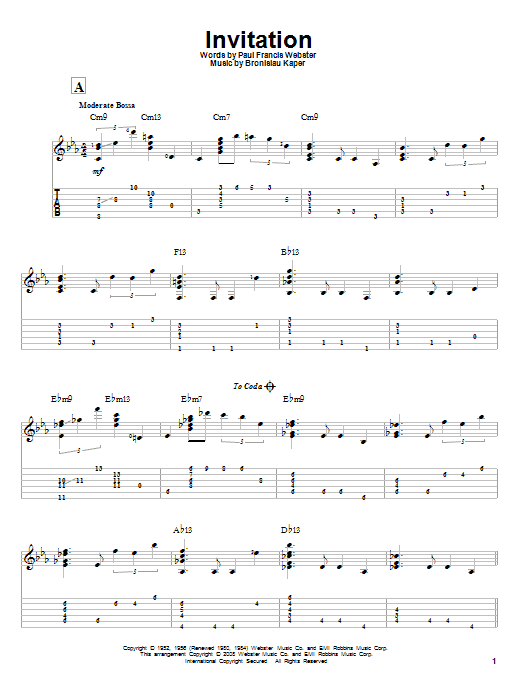 Invitation guitar tab by paul francis webster guitar tab 83484 invitation sheet music stopboris Gallery