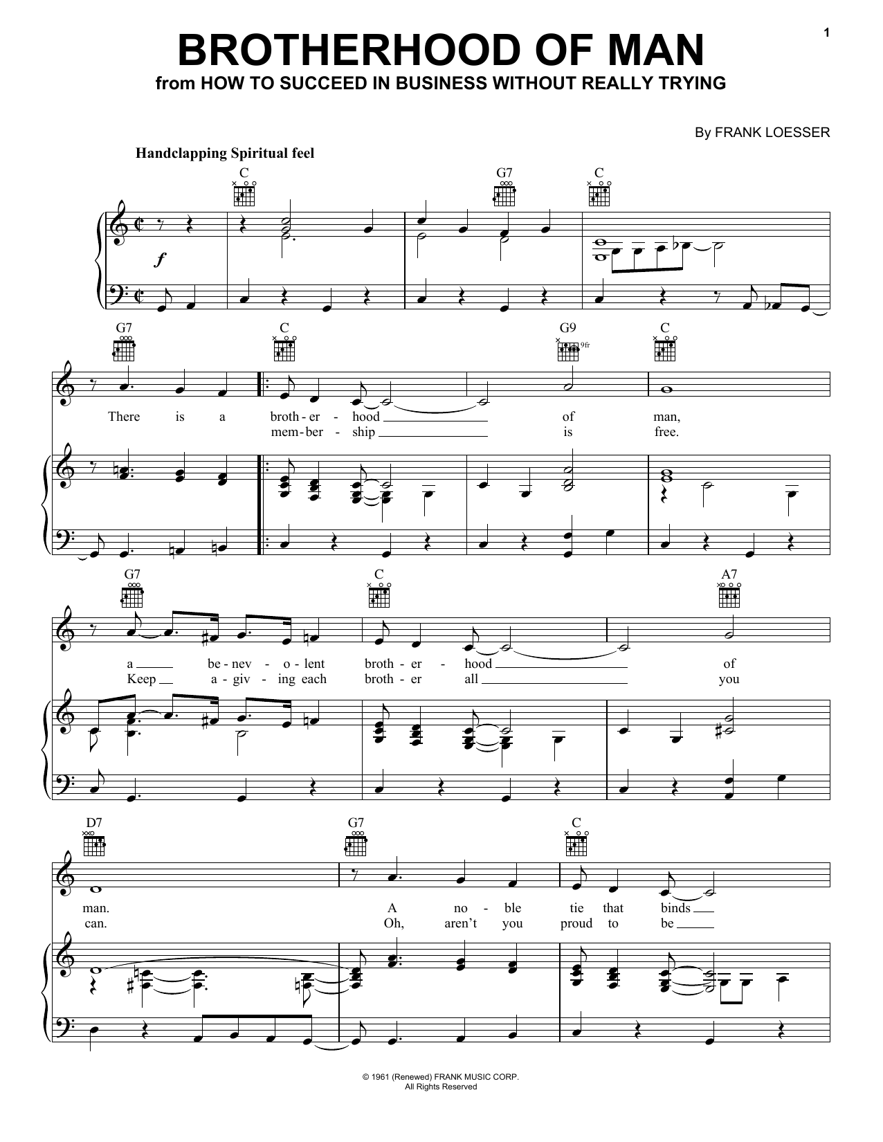 Brotherhood Of Man Sheet Music