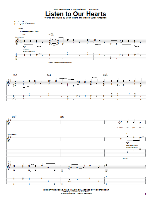 Listen To Our Hearts (Guitar Tab)