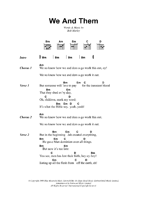 We And Them (Guitar Chords/Lyrics)