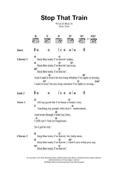Stop That Train (Guitar Chords/Lyrics)