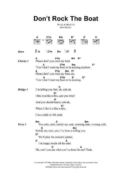 Don't Rock The Boat Sheet Music