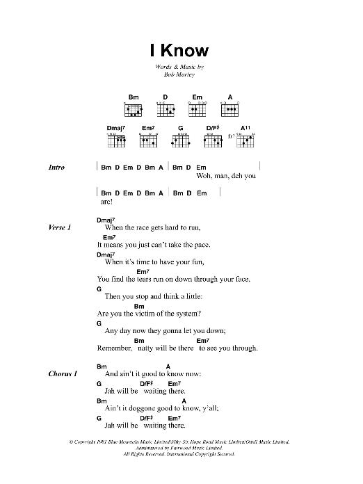 I Know (Guitar Chords/Lyrics)