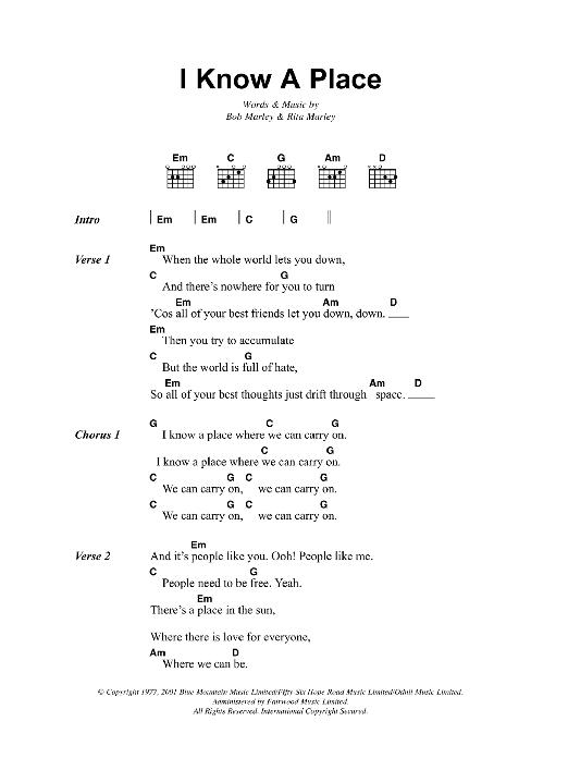I Know A Place (Guitar Chords/Lyrics)