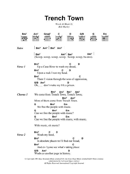Trench Town (Guitar Chords/Lyrics)