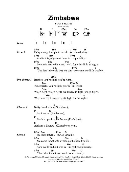 Zimbabwe (Guitar Chords/Lyrics)