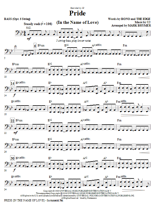 Pride (In The Name Of Love) (arr. Mark Brymer) - Bass (Choir Instrumental Pak)