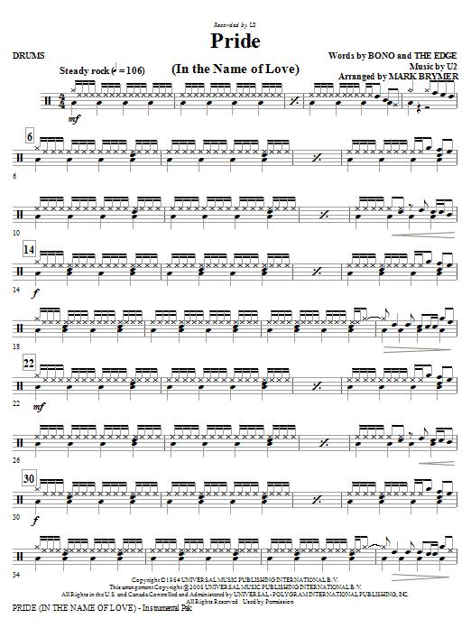Pride (In The Name Of Love) (arr. Mark Brymer) - Drums (Choir Instrumental Pak)