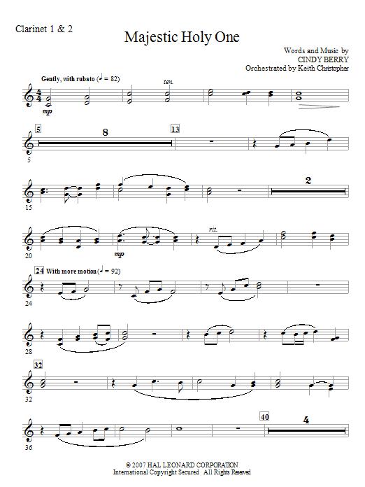 Majestic Holy One - Bb Clarinet 1,2 (Choir Instrumental Pak)
