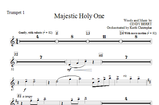 Majestic Holy One - Trumpet 1 (Choir Instrumental Pak)
