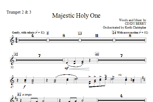 Majestic Holy One - Bb Trumpet 2,3 (Choir Instrumental Pak)