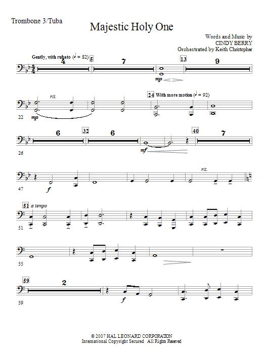 Majestic Holy One - Trombone 3/Tuba (Choir Instrumental Pak)