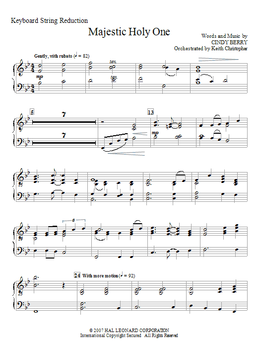 Majestic Holy One - Keyboard String Reduction (Choir Instrumental Pak)