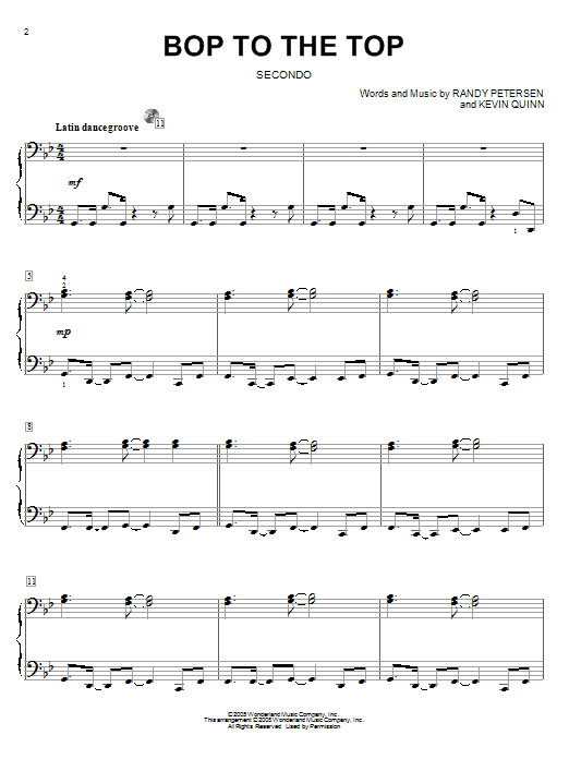 Bop To The Top Sheet Music