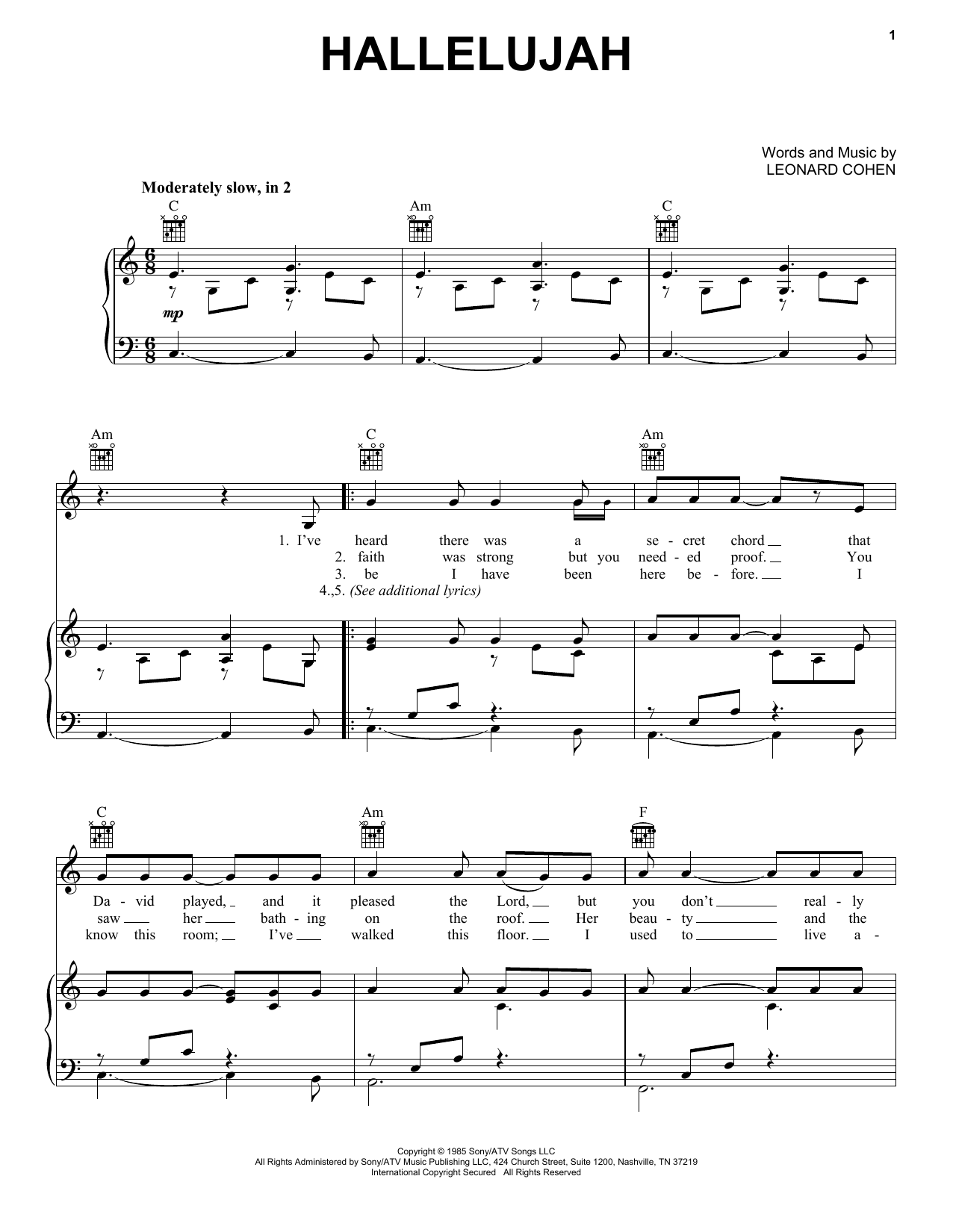 Hallelujah : Sheet Music Direct