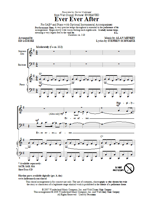 Ever Ever After (arr. Ed Lojeski) (SAB Choir)