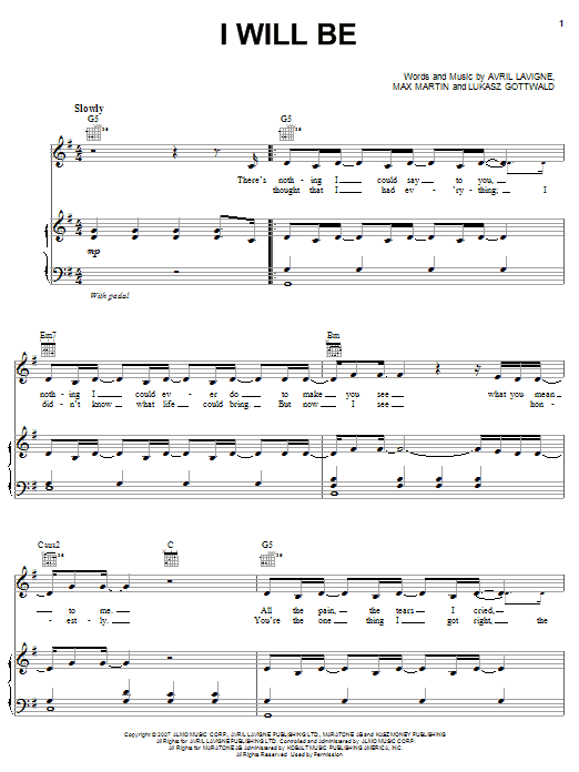 I Will Be (Piano, Vocal & Guitar (Right-Hand Melody))