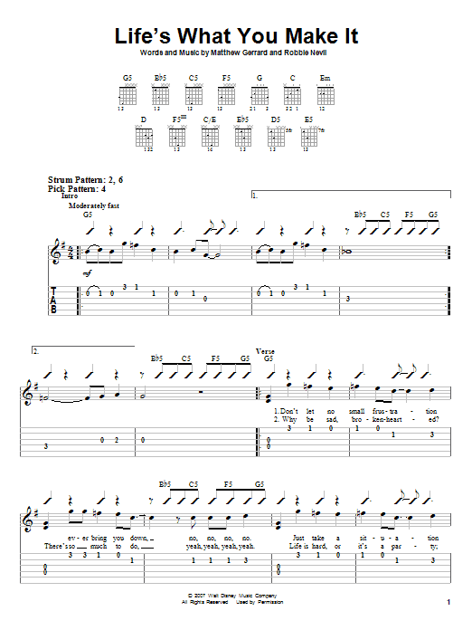 Tablature guitare Life's What You Make It de Hannah Montana - Tablature guitare facile