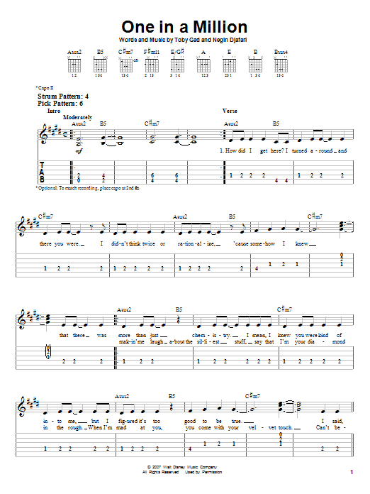 Tablature guitare One In A Million de Hannah Montana - Tablature guitare facile